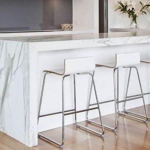Quartz Worktop Calcutta White Waterfall with mitred apron