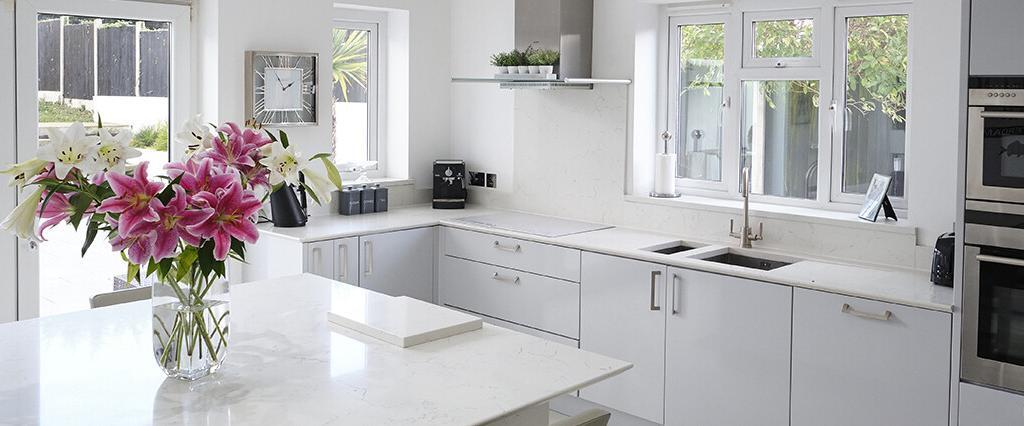 About Us Quartz Worktop White Kitchen Main Image